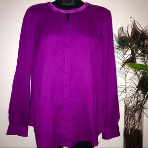 Ann Taylor Magenta Polyester Long Sleeve Top